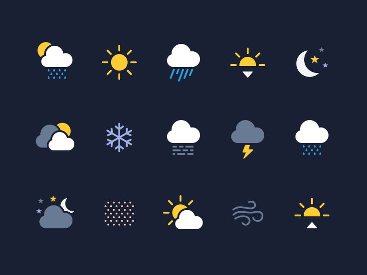 Weather Icons (Made with Figma) - via @designhuntapp