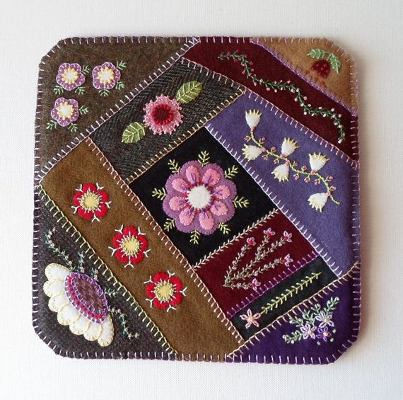 Purple Paradise Felted Wool Candle Mat by QuiltShenanigans on Etsy