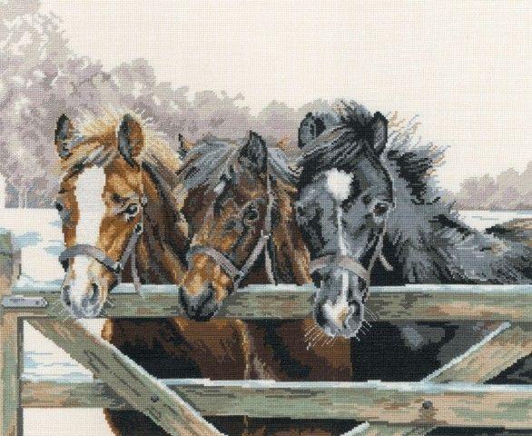 Drie paarden bij een hek - Borduurpakket