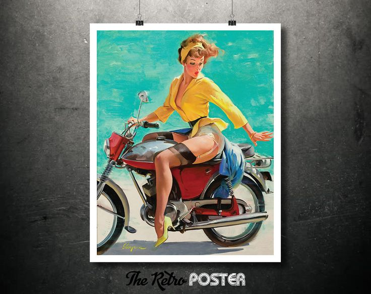 Girl on a Motorcycle Poster or Canvas - Artist: Gil Elvgren - Stockings Pin-Up // High Quality Fine Art Reproduction Giclée Print by TheRetroPoster on Etsy