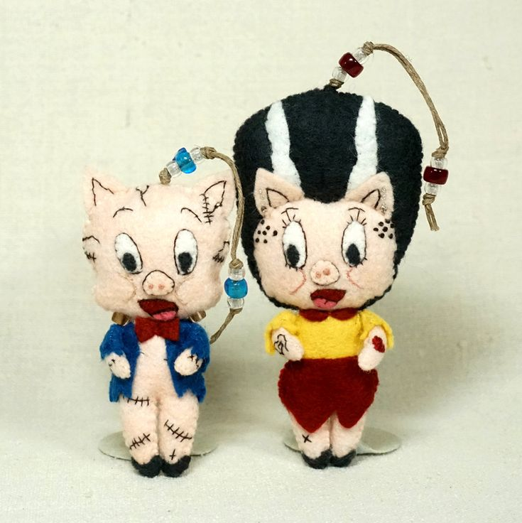 porkenstein and petunia bride doll ornaments pair of wool felt halloween ornaments halloween plushie