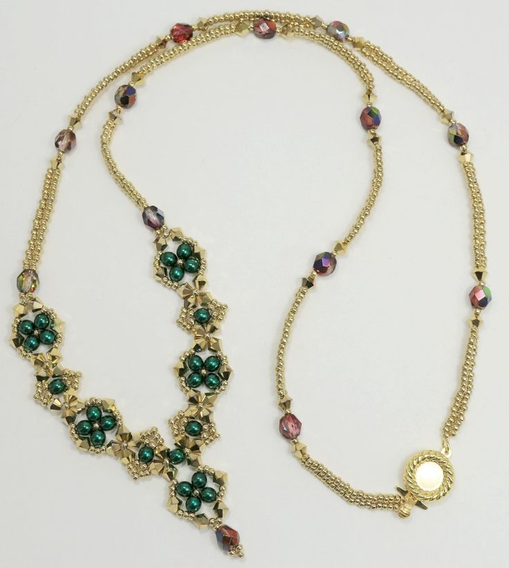 Deb Roberti's Craving Crystal Necklace done in Deep Emerald Pearls and gold plated seed beads.