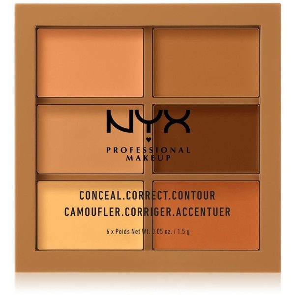 Nyx Professional Makeup Conceal Correct Contour Palette Deep (161.640 IDR) ❤ liked on Polyvore featuring beauty products, makeup, face makeup, concealer, deep, palette concealer, nyx and nyx concealer