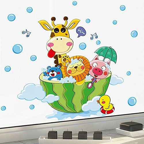 Kaimao Shower Time Cartoon Waterproof Wall Stickers Removable Murals DIY Decor For Bathroom Washroom >>> Be sure to check out this awesome product.