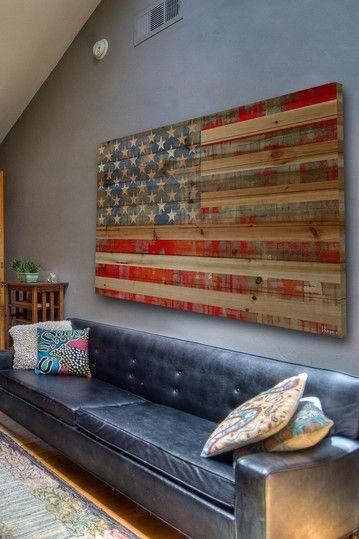 Bandiera americana in legno