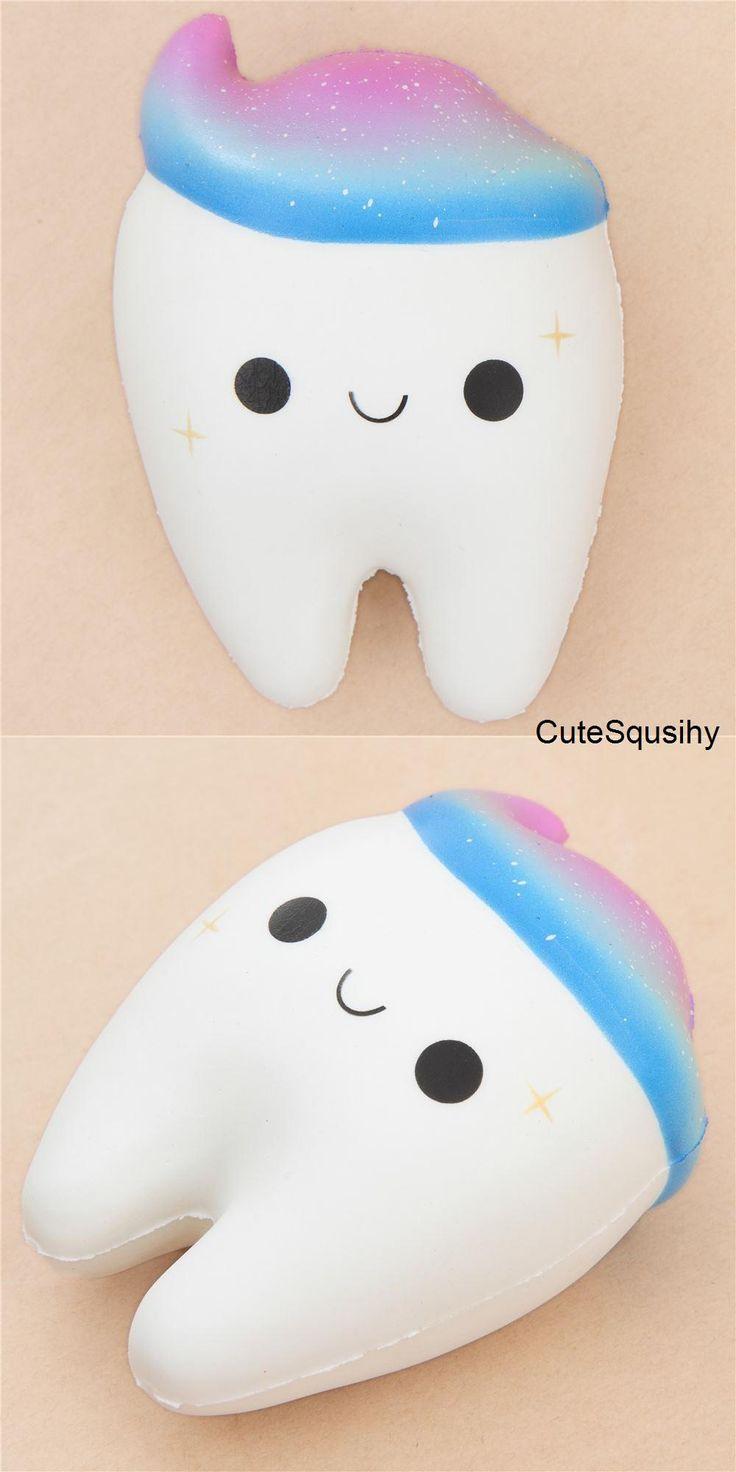 Squishy wei?er Zahn mit galaxiefarbener Zahncreme von Cutie Creative Squishies, Kawaii and Slime