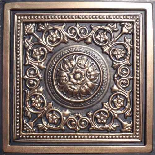 """Majesty Antique Bronze Black (24x24"""" Pvc) Ceiling Tile by Antique Ceilings. $7.98. Tin like look from a modern material. High quality PVC matterial. Universal Installation - Drop in Grid system, Glue-on, Nail-on. Easy to cut. Can be painted with most any water or latex based paints. PVC ceiling tiles come in 24""""x24"""" size. Feather-light, easy to install, easy to clean, stain resistant, water resistant, dust free, and easy to cut. They can be cut with any house hold ..."""