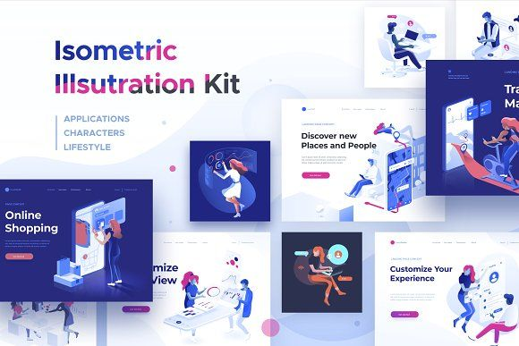 Isometric Illustration Kit People By Dmit Shop On Creativemarket Templates Usability Testing Page Template