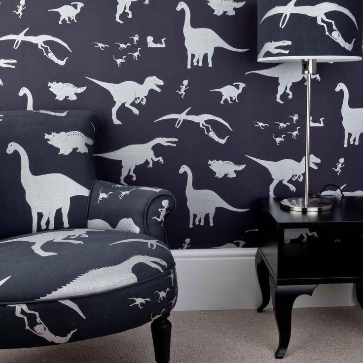 D'ya-think-e-saurus boys dinosaur wallpaper purple chair and lampshade contact www.rhainteriors.co.uk
