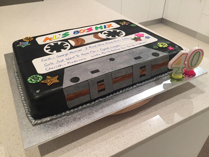 Mix cassette tape 80's cake