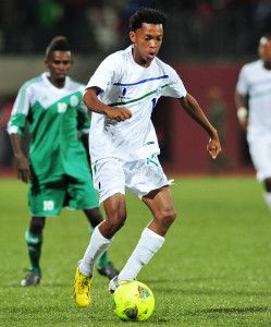 Tokelo Majoro of Lesotho during the Cosafa u20 Youth Championship Group A game between Lesotho and Comoros at Setsoto Stadium, Maseru in Lesotho on 3 December 2013 ©Ryan Wilkisky/BackpagePix