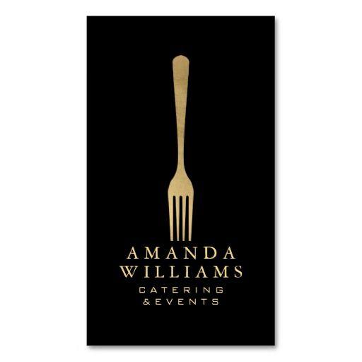 203 best restaurant business cards images on pinterest business elegant faux gold fork catering logo on black ii business card reheart Images