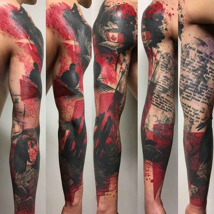 trash polka tattoo sleeve