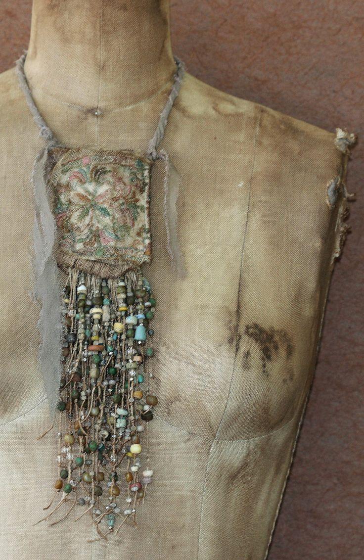 Minoan Nouveau Bead Work Pouch Pendant