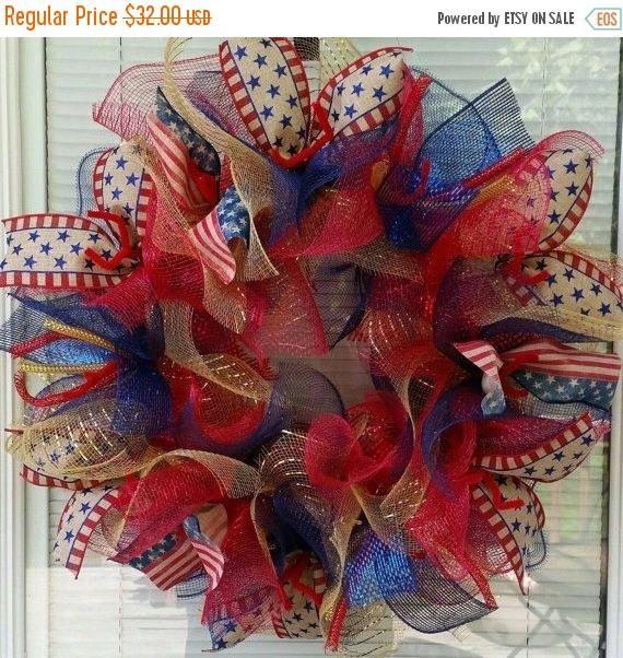 SALE 4th July Wreath, USA Wreath, America Wreath, Labor Day Wreath, Patriotic, Deco Mesh Wreath, Ribbon Wreath, Star Wreath, Rustic Wreath by WreathsByRobyn on Etsy https://www.etsy.com/listing/220527978/sale-4th-july-wreath-usa-wreath-america