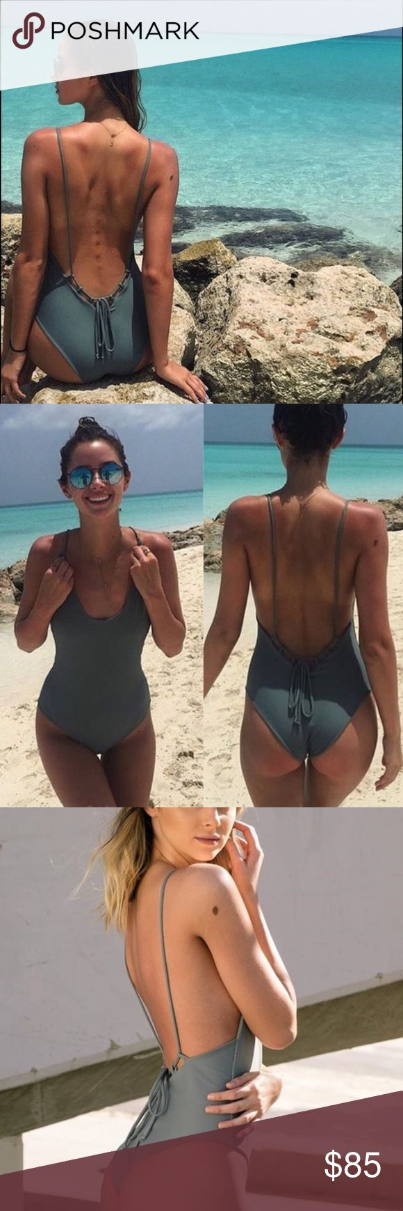 Low back one piece bikini NWT! This is hand made by a local brand in SoCal. Color is in slate! NOT MIKOH. The suit is very comfortable, stretchy, and flattering! My price is firm on poshmark. $80 shipped ️️ Mikoh Swim One Pieces
