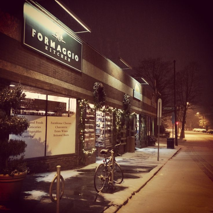 A snowy night at the shop here in Cambridge, MA.