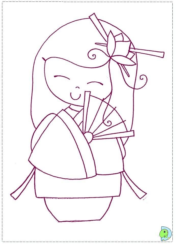 japanese doll coloring pages - kokeshi doll coloring pages coloring page cookie
