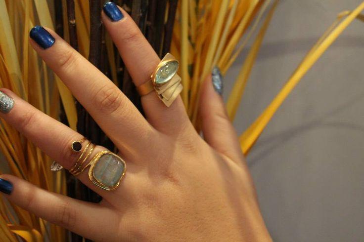 Δαχτυλίδια χειροποίητα με aqua marine.