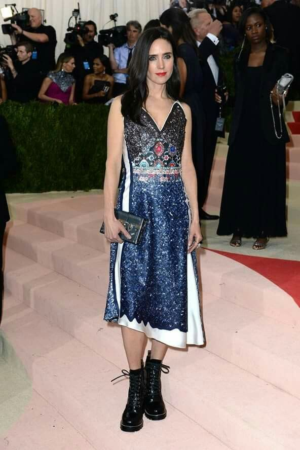 Geometric Printed Party Dress Jennifer Connelly