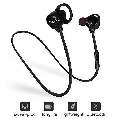 Bluetooth In Ear Headphones - Lightweight V4.1 Bluetooth Wireless Earphones In-Ear Noise Cancelling Earbuds Bluetooth Running Headphones for Smart Phones Tablets and Laptops (Black)