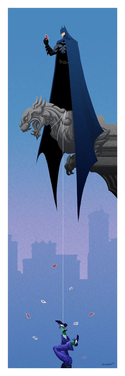 Batman and the Joker long format fan art by tim odland