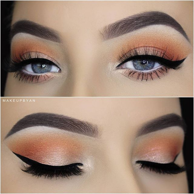 Tutorial on this Sultry and Sexy Everyday Eye Makeup tutorial now on my YouTube Channel! (Link in bio)  _ EYES: @Makeupgeekcosmetics White Lies,  Coral,  Poppy, I'm peachless, Mai Tai eyeshadows @AnastasiaBeverlyHills Orange Soda and Blazing Eyeshadows  @Wycon_Cosmetics Gel Eyeliner + NYC Liquid Liner @Annytude IMPISHLY lashes. Code AN for discount.  _ BROWS: @Anastasiabeverlyhills Brow wiz in Medium Brown  @Anastasiabeverlyhills Dip brow in Medium brown  @Anastasiabeverlyhills Brow gel in c