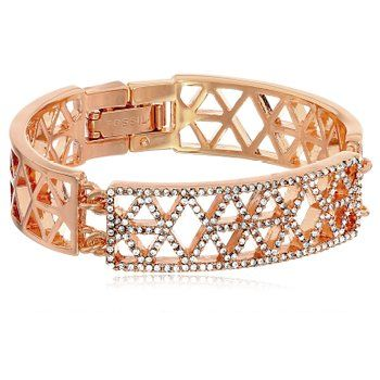 Fossil Geometric Cut-out No Chain Bracelet in Rose Gold Base Metal