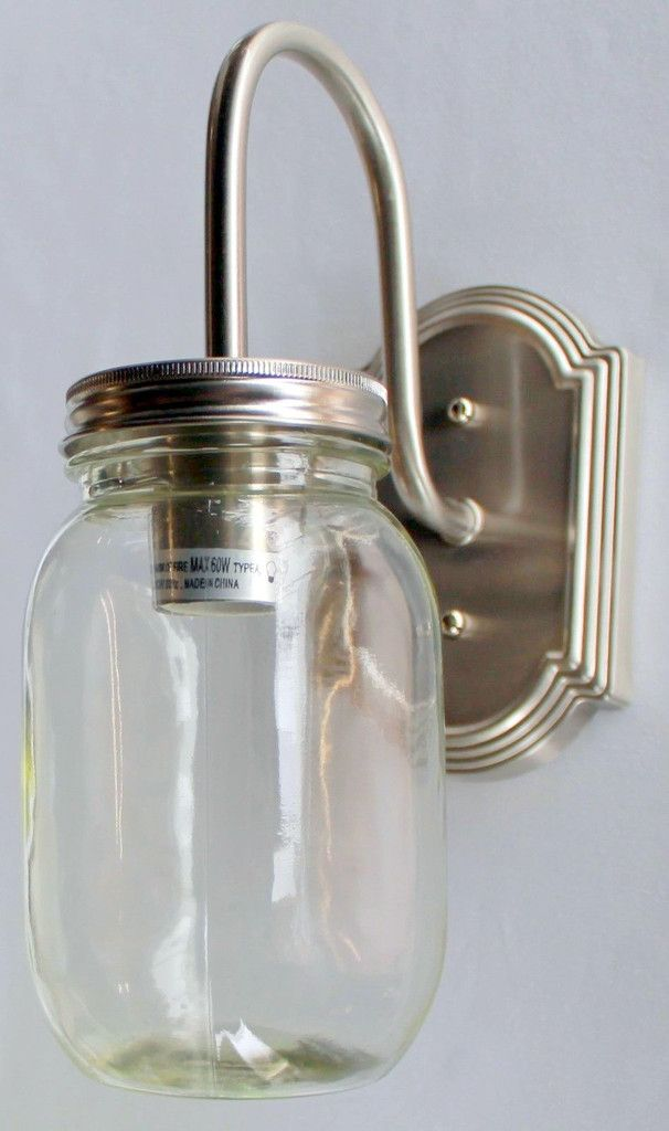 Mason Jar Vanity 1-Light New Quart Clear Half gallon mason jars, Mason jar sconce and Mason ...