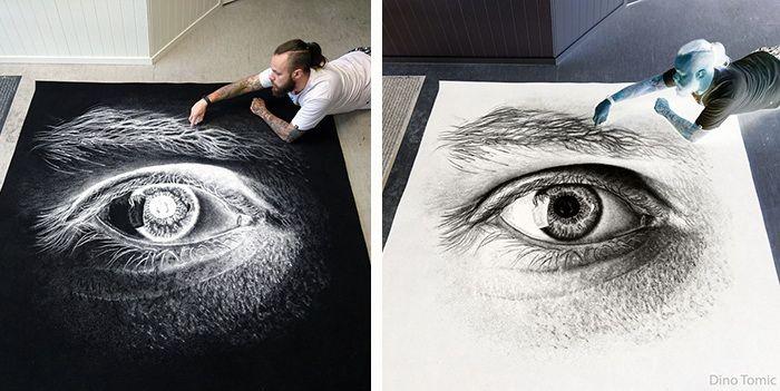 #интересное  Фантастические рисунки солью: черно-белое искусство (7 фото)   Современный художник Дино Томик (Dino Tomic) создает рисунки, используя для этого самые, казалось бы, неподходящие материалы. Недавно мастер представил новую серию работ, выполненных солью. Г�