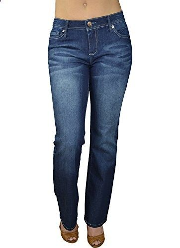 Alfa Global Women's Regular to Plus Size Boot Cut Stretch Denim Washed Pants DarkBlue 14  Go to the website to read more description.