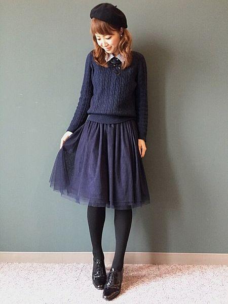 この画像は「冬から春に向けて!とろけるようなチュールスカートをコーディネートに。」のまとめの4枚目の画像です。