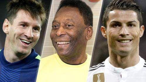 Yang mana yang terbaik menurut kalian ?  Official Career Goals Pele: 757 Gol Cristiano Ronaldo: 501 Gol Lionel Messi: 467 Gol