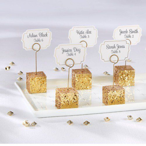 add a little glitz to your wedding day with these dazzling glitter place card holders