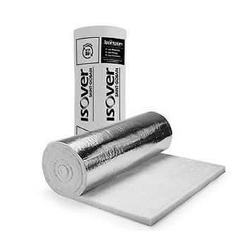 Isover Duct Wrap Insulation Thermal Wrap Roll With Acoustic Attenuation Silver Aluminum Facing 25mm / 50mm 1.2 M x 13M: Ideal for insulating and noise attenuation of ventilation duct systems and air conditioning
