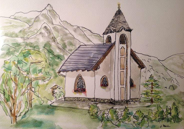 Watercolour church