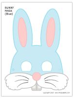 Printable Blue Bunny Mask - i might need to use this shape for easter hat parade
