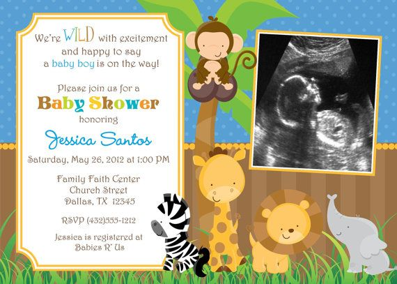 26 best images about boy baby shower on pinterest | jungle animals, Baby shower invitations