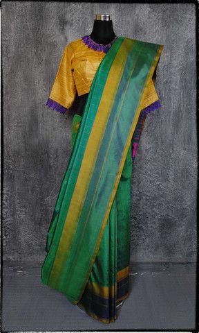 y11b Old Weave Kanjivaram Hand Woven Pure Silk Sari – father-land