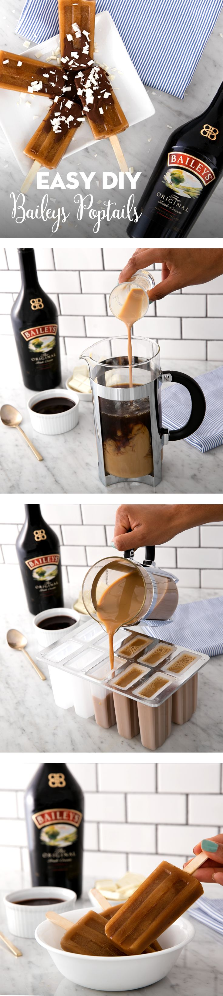 Ready for some summer fun? Keep cool during the warmer months with these easy to make Baileys and coffee popsicles. If you love Baileys, iced coffee, and all things frozen—you should definitely give these poptails a try. Your guests will enjoy the surprise twist on traditional cocktails at your party or brunch!