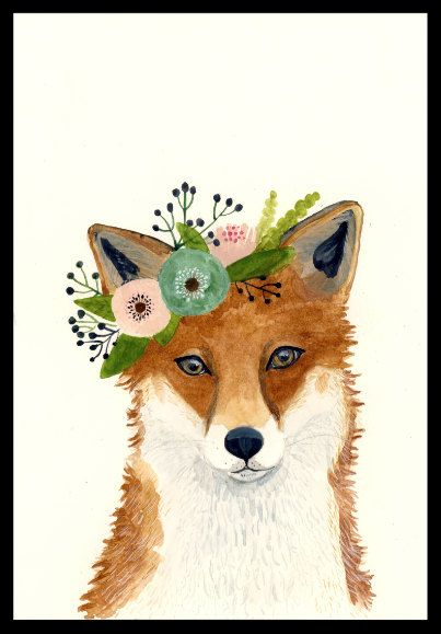 Watercolor fox, Woodland Nursery Art, Animal Paintings, Fox, Bear, Deer, Animal Wall Art, Childrens Wall Decor, Kids Art, fox painting