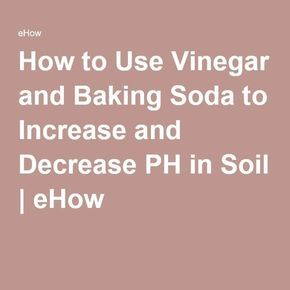 How to Use Vinegar and Baking Soda to Increase and Decrease PH in Soil   eHow