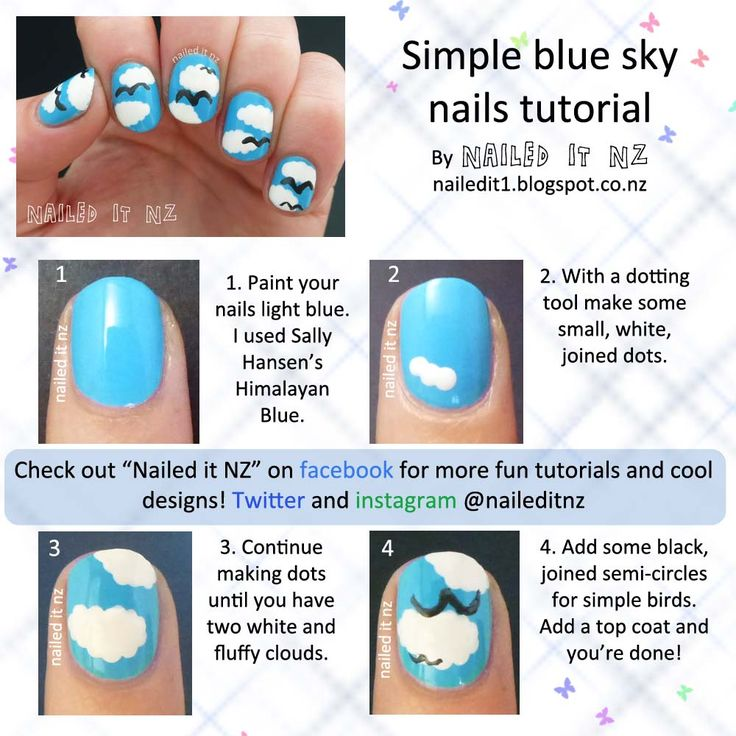 Nailed It NZ: Nail art for short nails #10 - Blue sky nails http://nailedit1.blogspot.co.nz/2013/02/nail-art-for-short-nails-10-blue-sky.html