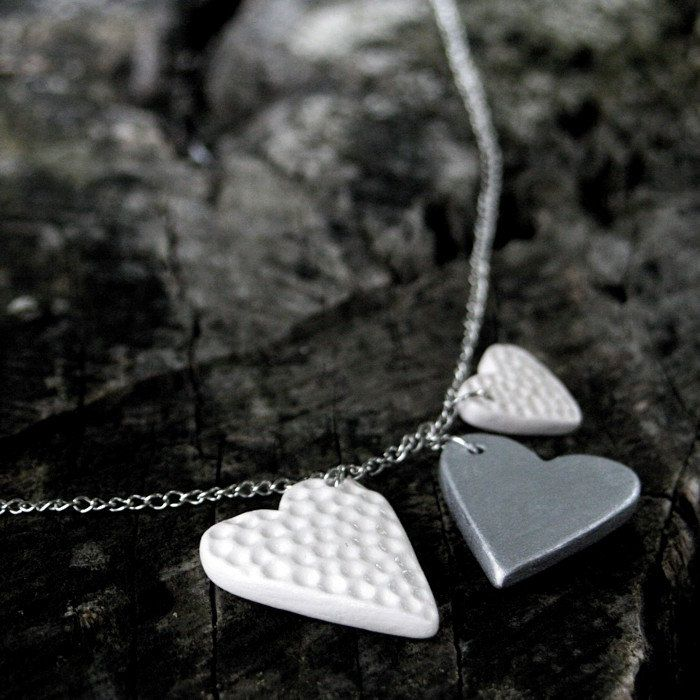Three hearts necklace, silver and white ceramic jewelry by Brekszer on Etsy