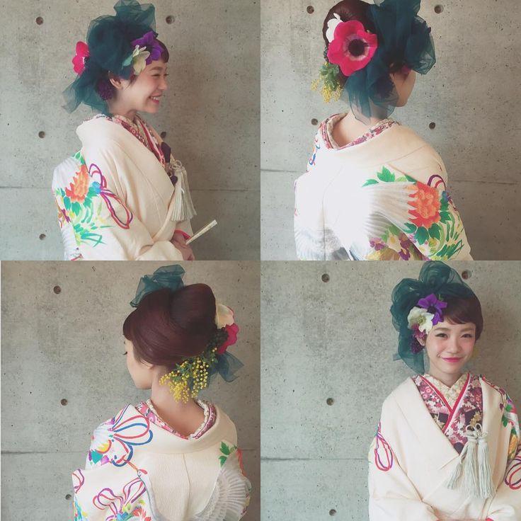 「* * 生花とチュール @eriwakuda さんに お願いしました * * #ヘアアレンジ #和装 #コーデ #マリhair」