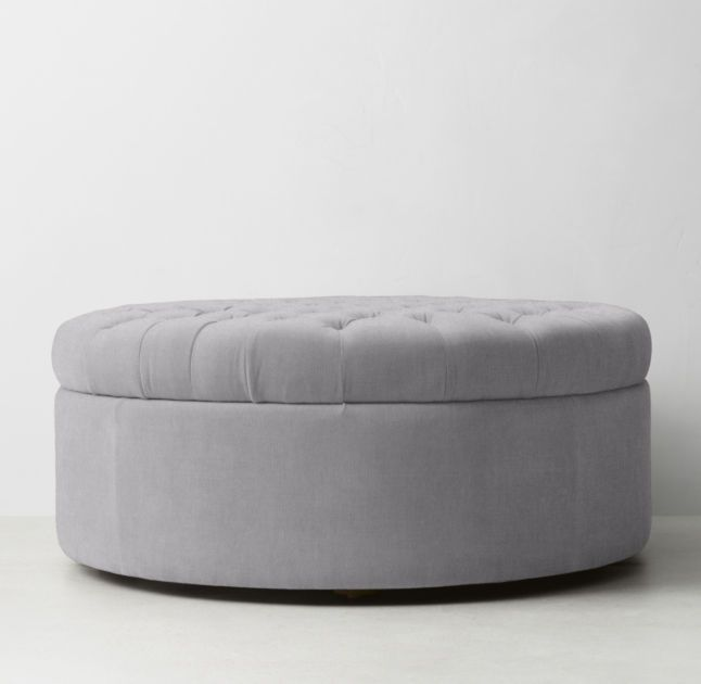 RH TEEN's Tufted Large Round Storage Ottoman:Recalling sumptuous 19th-century French poufs, our generously cushioned and deeply tufted ottoman offers seating that doubles as storage.