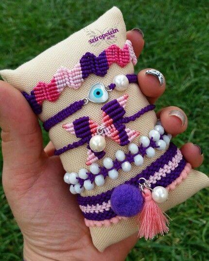 Μακραμέ βραχιόλια pearl detail purple power  macrame bracelet  by xeiropoiein…