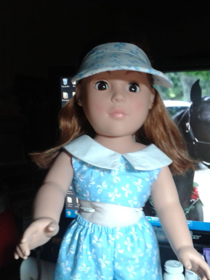 Visor on doll | White visor with blue set modeled by my Madam Alexander doll.
