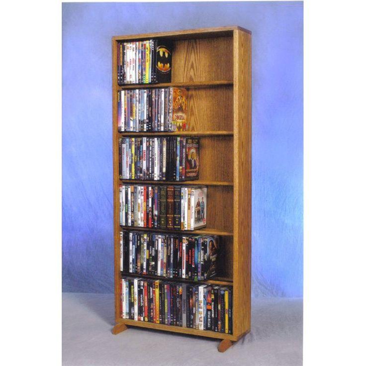 The Wood Shed Solid Oak 6 Row Dowel CD / DVD Combination Media Rack - 24 in. Wide Clear Oak - 615-24 COMBOC