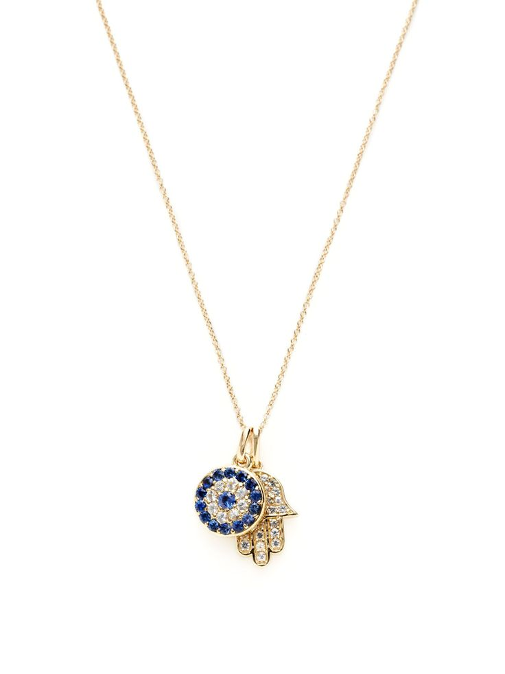 Sapphire Evil Eye & Hamsa Pendant Necklace by Zaiken Jewelry at Gilt